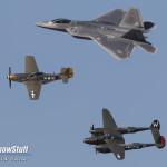 EAA Airventure Oshkosh 2015 - Heritage Flight P-51 Mustang, P-38 Lightning, F-22 Raptor - Patrick Barron